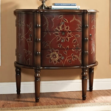 Powell Furniture Living Room Red Hand Paint 2 Door 3 Drawer Console 822 933  At Carol House Furniture