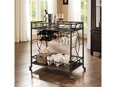 Powell Furniture Serving Cart, Curved End Rectangular On Ball Casters 849-415