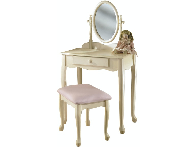 Powell Furniture Bedroom Off White Vanity Mirror And