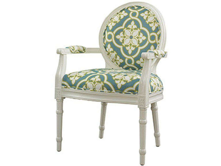 Powell Furniture Living Room White And Teal Ghost Chair 929