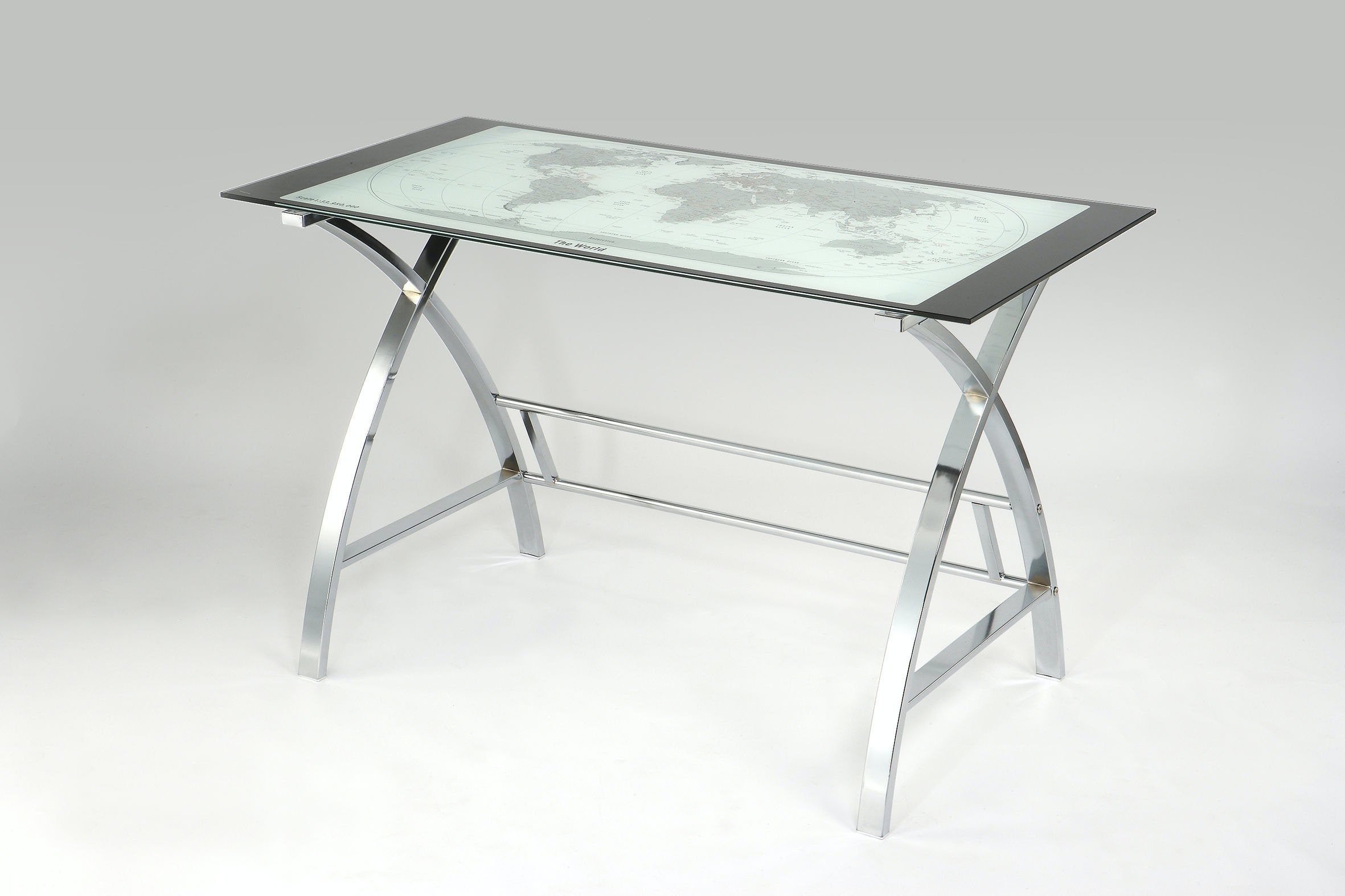 office world desks. Powell Furniture World Map Printing Curved X-Sided Computer Desk 942-240 Office Desks