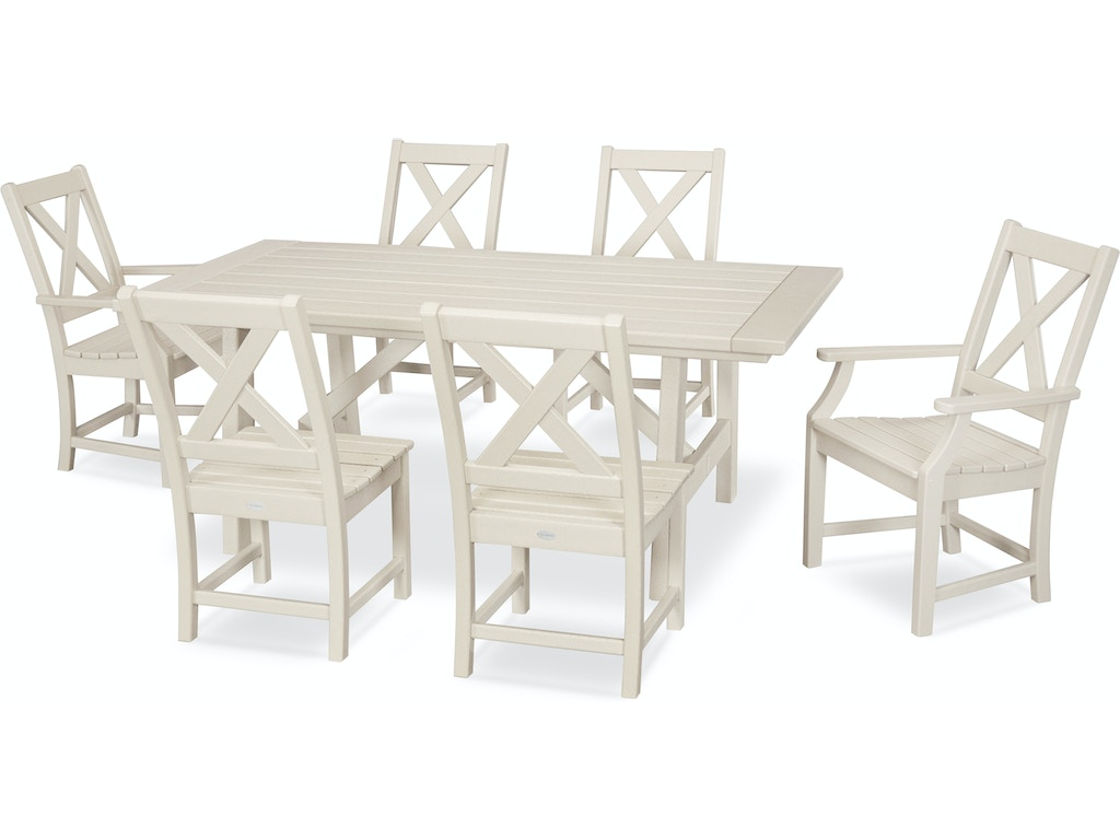 Polywood Outdoor Patio Braxton 7 Piece Rustic Farmhouse Dining Set In Sand Pws507 1 Sa Mattress