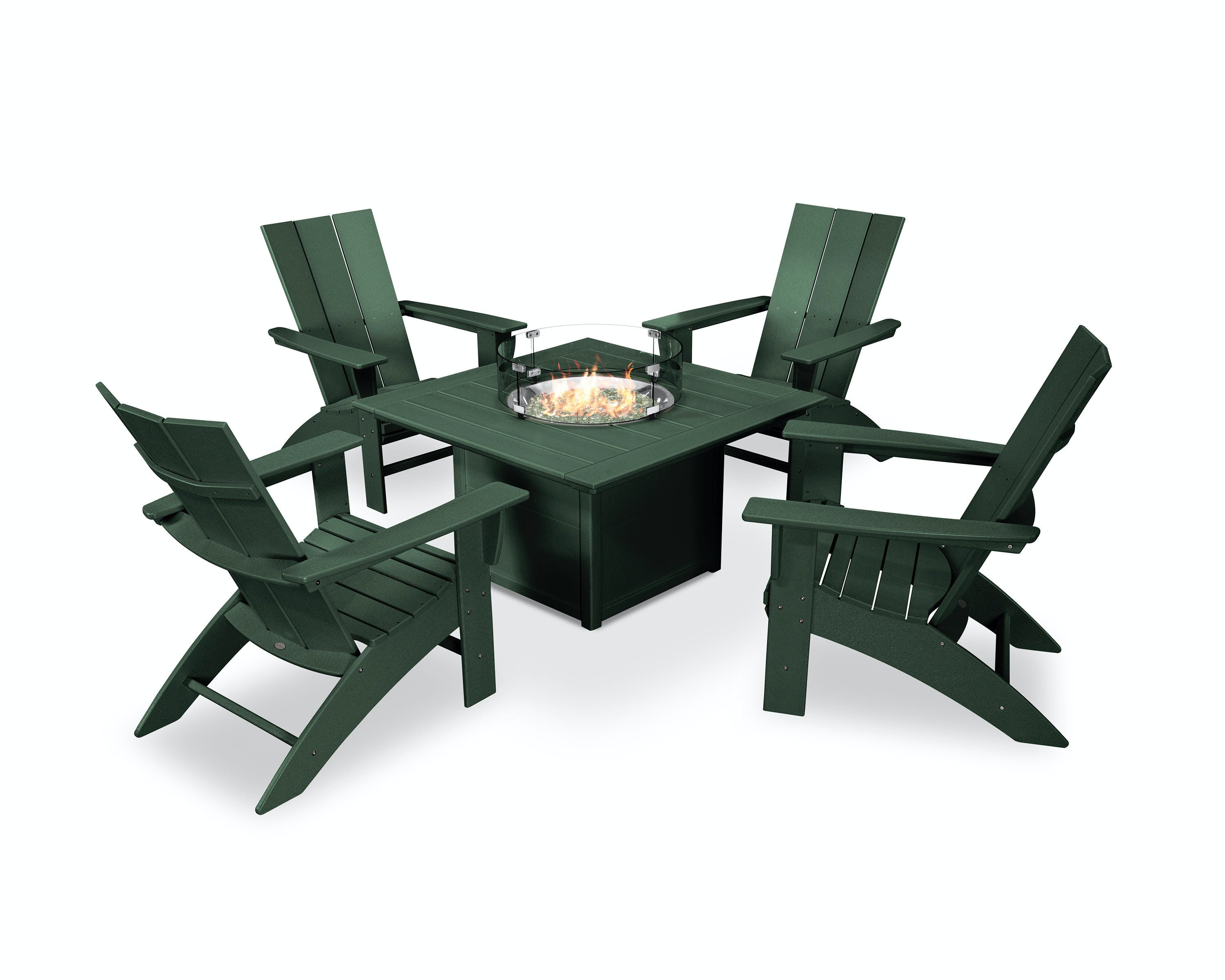 Image of: Modern Curveback Adirondack 5 Piece Conversation Set With Fire Pit Table