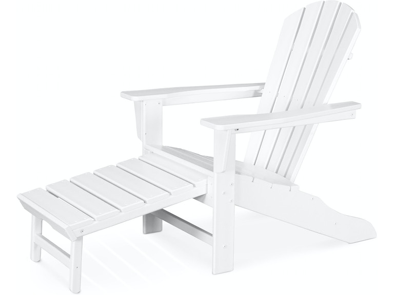 Polywood Outdoor Patio Adirondack With Hideaway Ottoman In White Hna15 Lindsey S Furniture