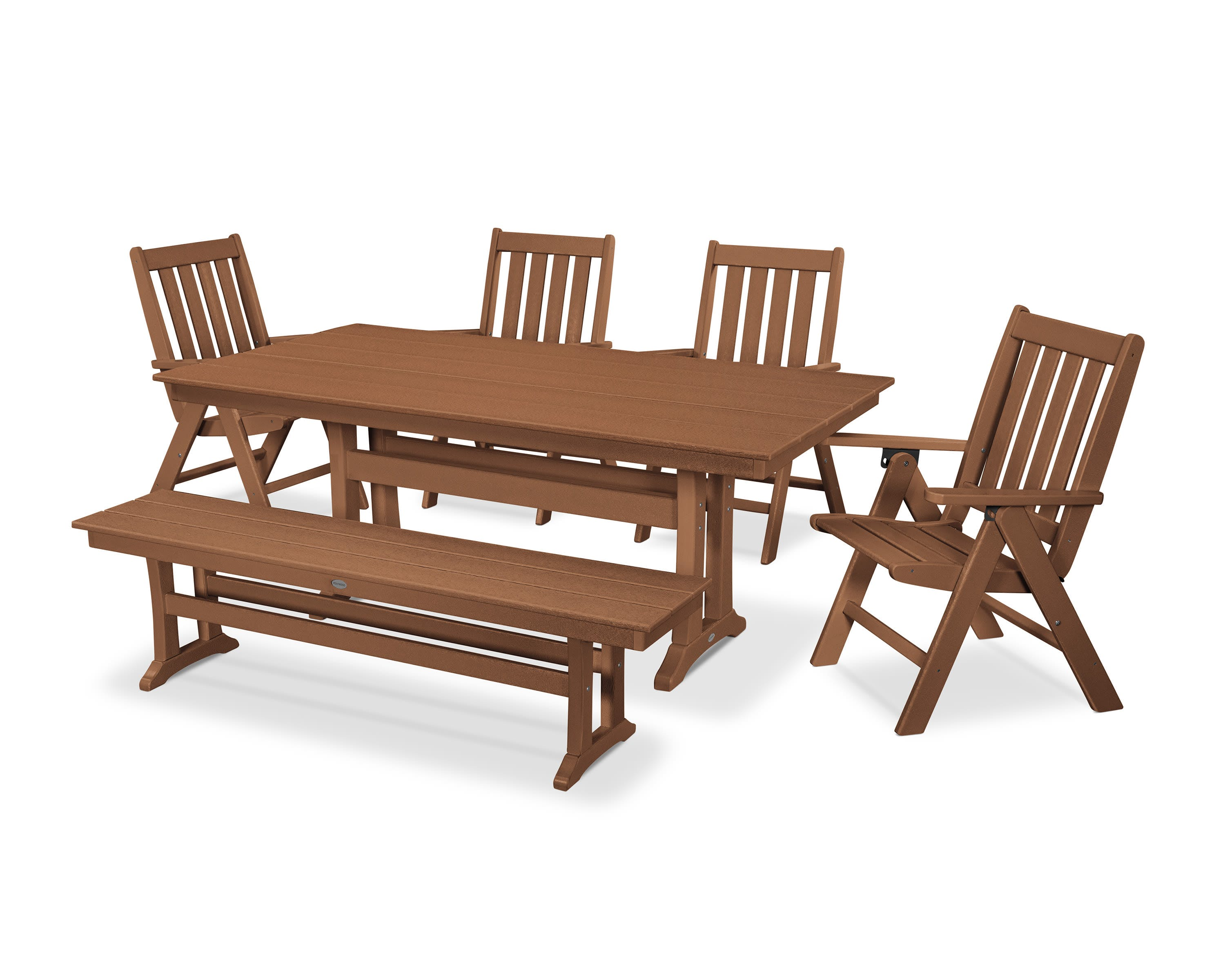 Vineyard 6 Piece Farmhouse Folding Dining Set With Bench