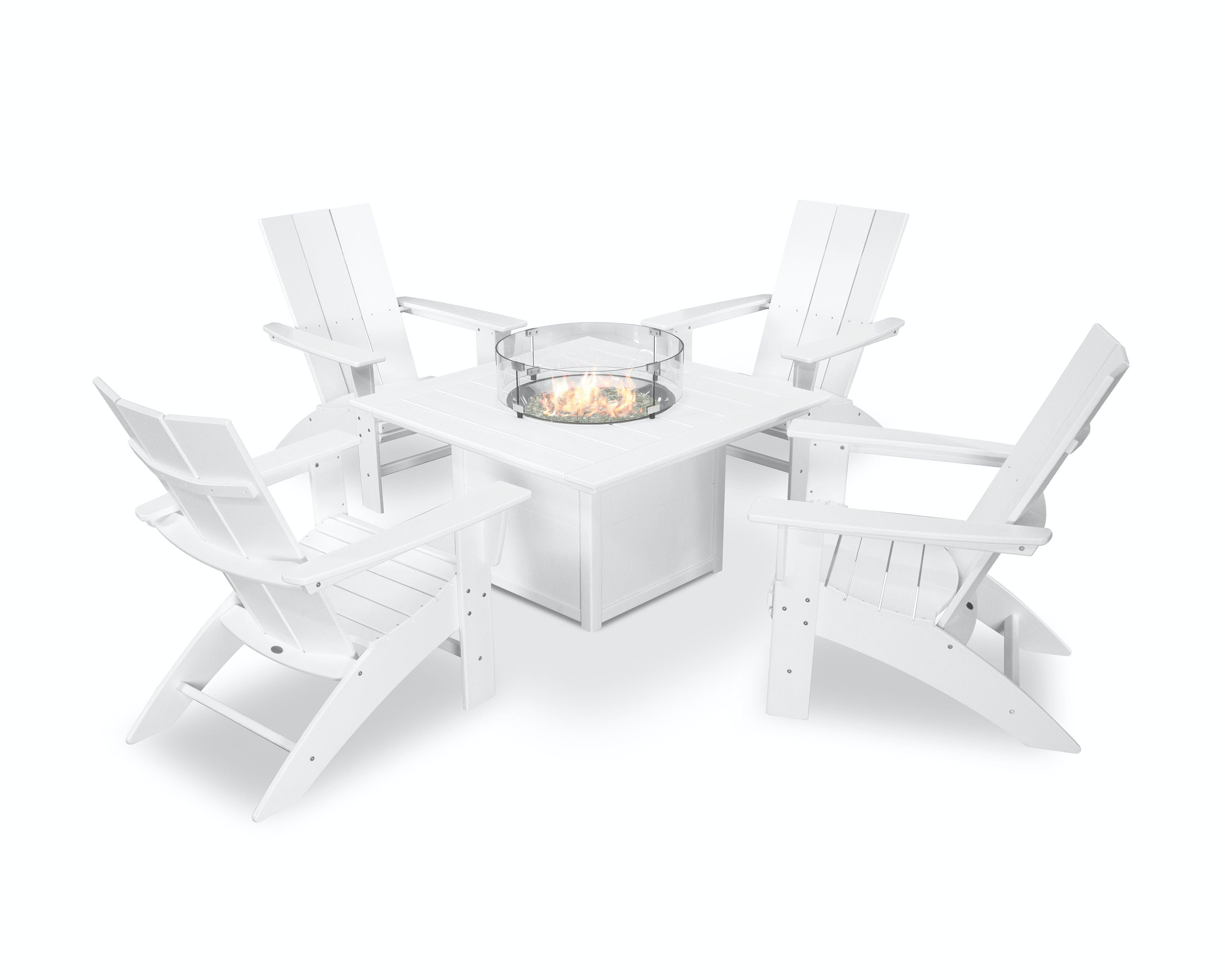 Image of: Polywood Outdoor Patio Modern Curveback Adirondack 5 Piece Conversation Set With Fire Pit Table