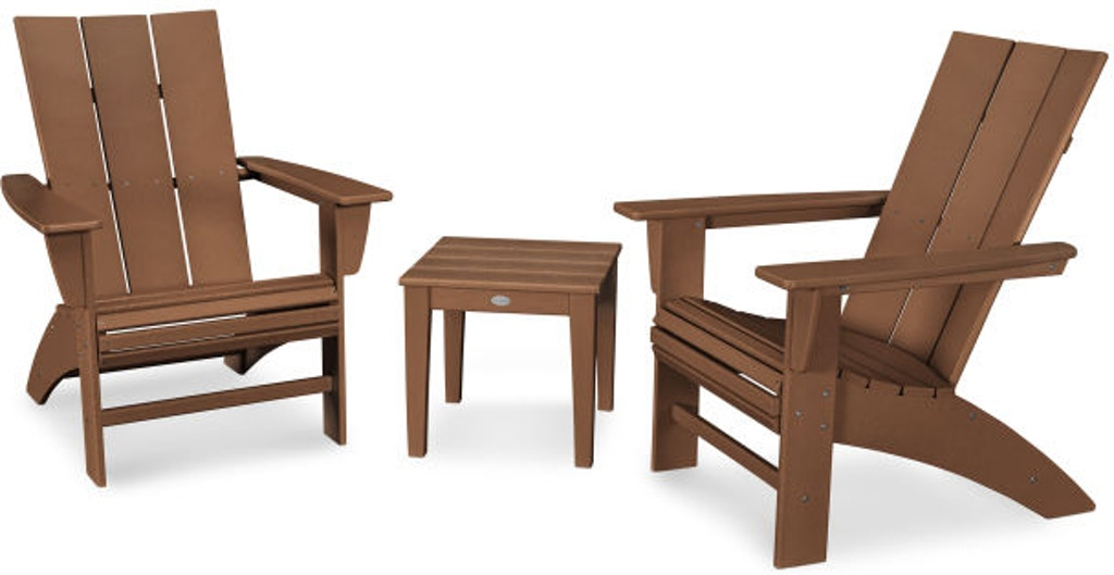 Magnificent Polywood Outdoor Patio Modern 3 Piece Curve Back Adirondack Ibusinesslaw Wood Chair Design Ideas Ibusinesslaworg