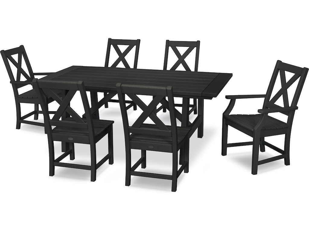 Polywood Outdoor Patio Braxton 7 Piece Rustic Farmhouse Dining Set In Black Pws507 1 Bl Mattress