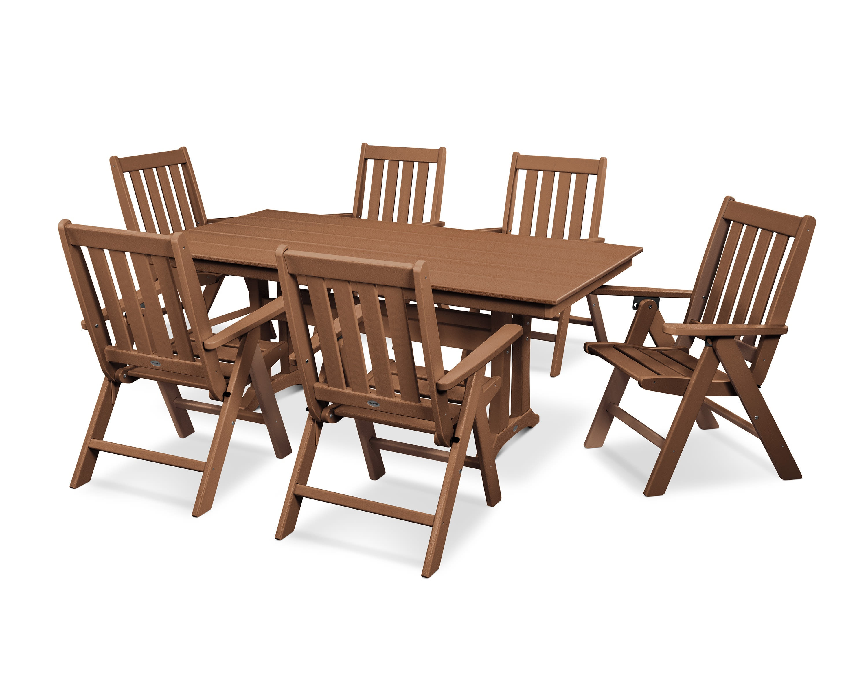 - Vineyard 7-Piece Farmhouse Folding Dining Set WCCPWS3411TE