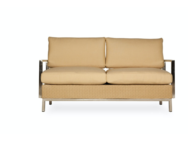 Lloyd Flanders Settee With Stainless Steel Arms 203355