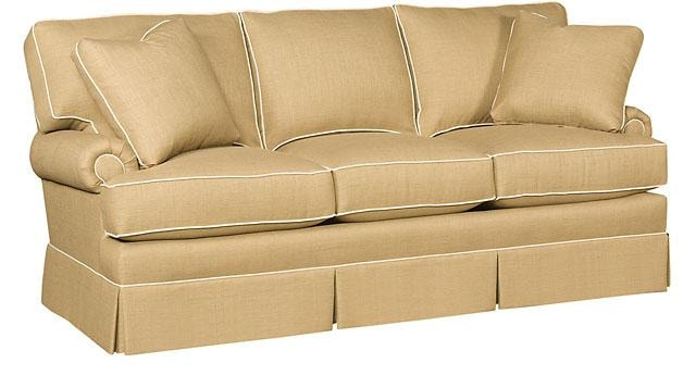 King Hickory Kelly Fabric Sofa With Panel Arm, Box Attached Back, Skirt, And