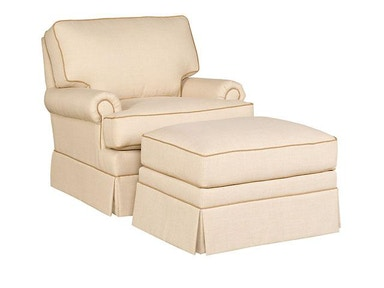 King Hickory Kelly Fabric Chair With Panel Arm, Box Attached Back, Modern Leg, And Fabric 1201-PBM-F
