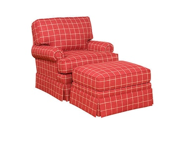 King Hickory Kelly Swivel Chair With Panel Arm, Box Attached Back, Skirt, And Fabric 1201S-PBS-F