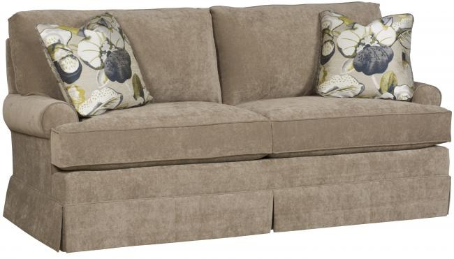 King Hickory Kelly Studio Sofa With Sock Arm, Loose Knife Edge Back, Skirt,