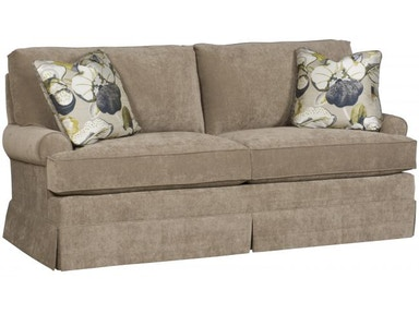King Hickory Kelly Studio Sofa With Sock Arm, Loose Knife Edge Back, Skirt, And Fabric