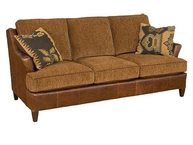 King Hickory Melrose Leather/Fabric Sofa 1450-LF
