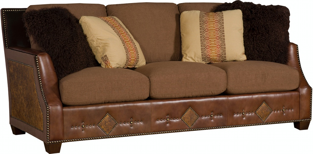 King Hickory Living Room Santiago Leather/Fabric Sofa 2300 ...