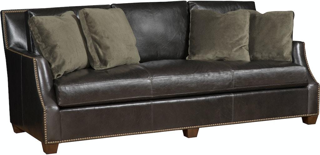 King Hickory Living Room Santiago Leather Bench Cushion Sofa 2350 L Bartlett Home Furnishings