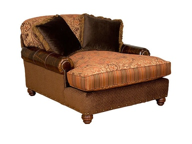 King Hickory Charlotte Fabric/Leather Chaise and Half U50260ALF