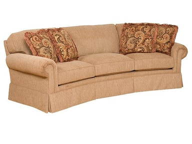 King Hickory Bentley Fabric Conversation Sofa With Panel Arm, Attached Back, Skirt, And Fabric 4465-PAS-F