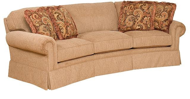 King Hickory Bentley Fabric Conversation Sofa With Panel Arm, Attached  Back, Skirt, And Fabric 4465 PAS F