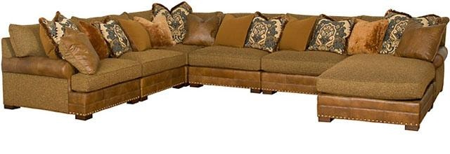 Genial King Hickory Casbah Fabric/Leather Sectional 1100 SECT LF