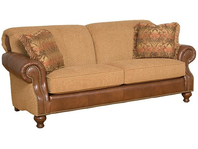 King hickory living room roxanne leather fabric sofa 54150 for Furniture in beaumont tx
