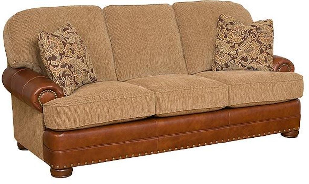 King Hickory Living Room Edward Leather/Fabric Sofa 58150-LF ...