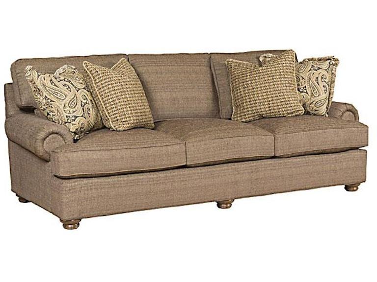 King Hickory Henson Fabric Sofa With English Arm Loose Back Modern Leg And