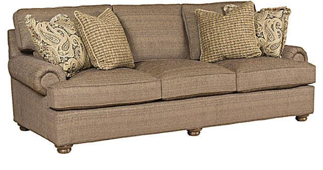King Hickory Living Room Henson Fabric Sofa With English Arm Loose Back Turned Leg And