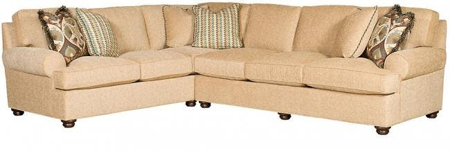King Hickory Living Room Henson Left Arm Facing Corner Sofa With English Arm Attached Back Turned