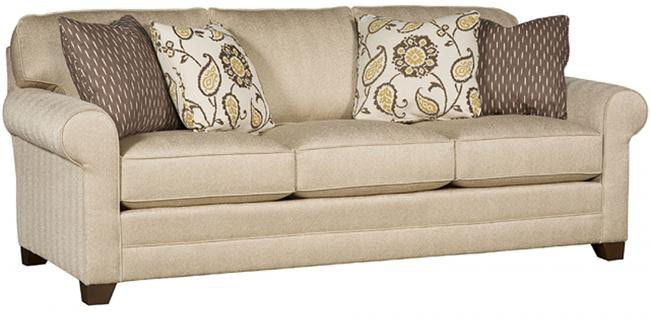 King Hickory Winston Fabric Sofa With Panel Arm, Attached Back, Skirt, And  Fabric 7400 PAS F