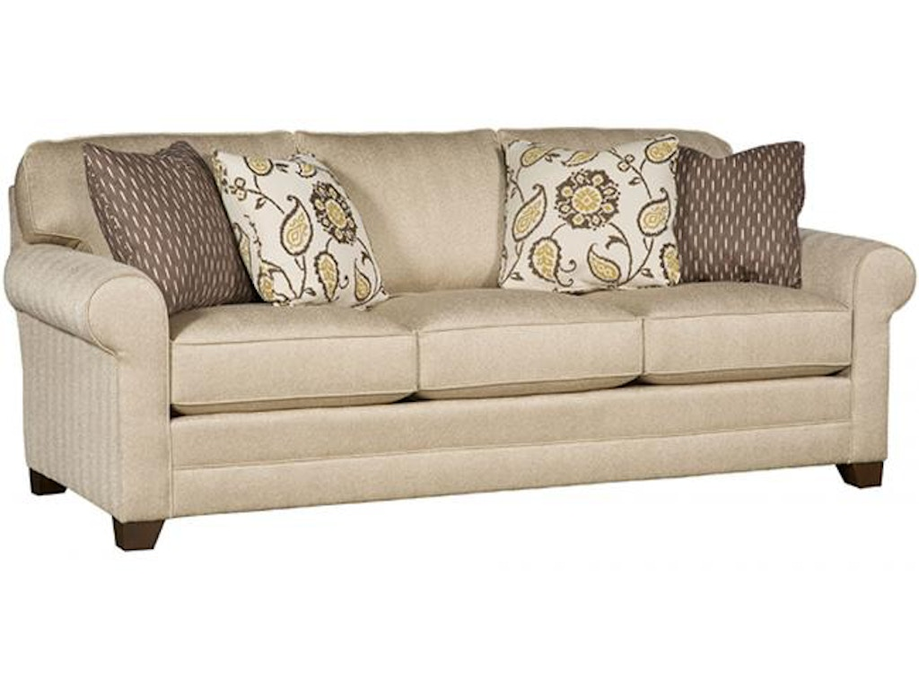 King Hickory Living Room Winston Fabric Sofa With Panel Arm Attached Back Skirt And Fabric