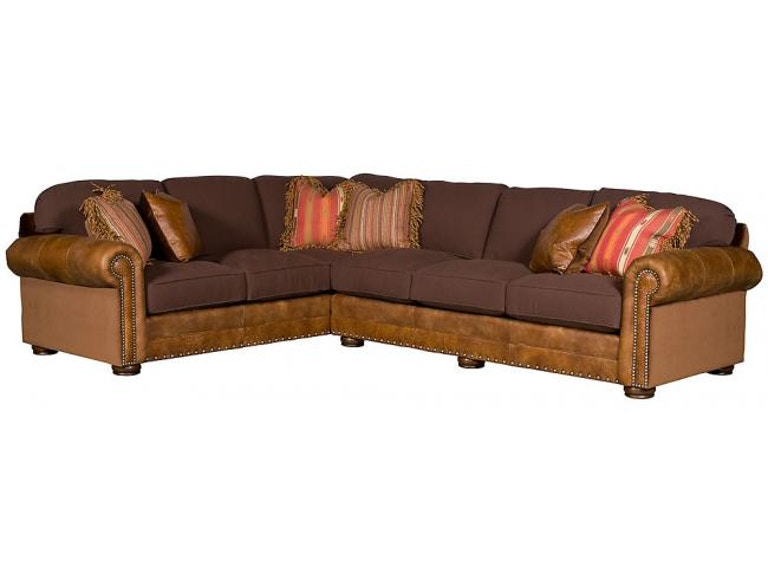 King Hickory Living Room Ricardo Leather/Fabric Sectional ...