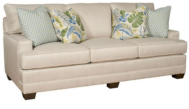 King Hickory Highland Park Sofa With Panel Arm, Loose Back, Modern Leg, And  Fabric 9200 PBM F
