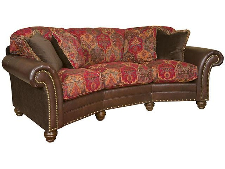 King Hickory Katherine Leather Fabric Conversation Sofa 9765 Lf