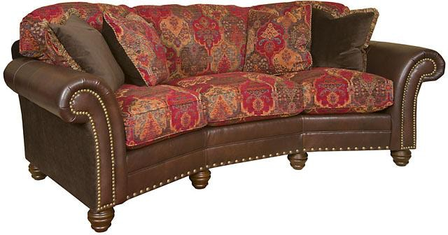 King Hickory Katherine Leather Fabric Conversation Sofa 9765 LF