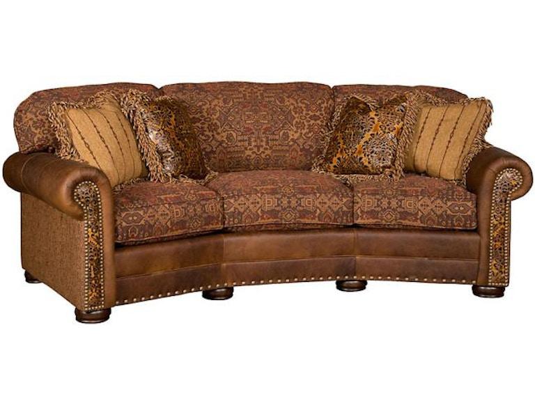 King Hickory Living Room Ricardo Leather/Fabric Conversation Sofa ...