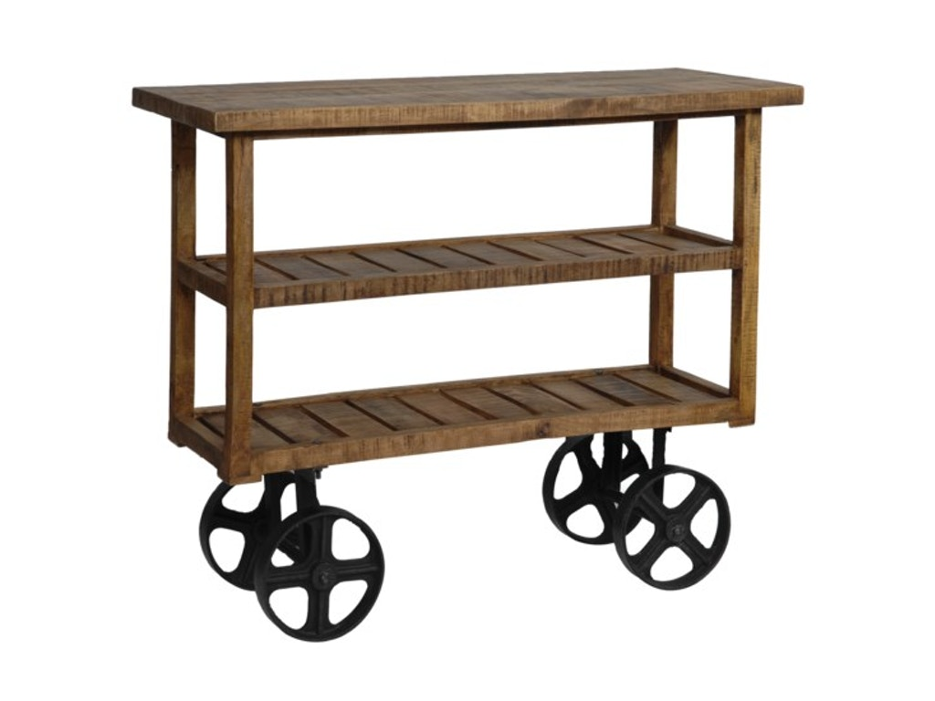 Crestview Living Room Bengal Manor Mango Wood Industrial Cart Cvfnr302 Cherry House Furniture