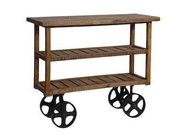 Crestview Bengal Manor Mango Wood Industrial Cart CVFNR302