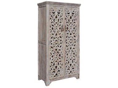 Crestview Bengal Manor Mango Wood Hand Carved Open Design 2 Door Tall Cabinet CVFNR353