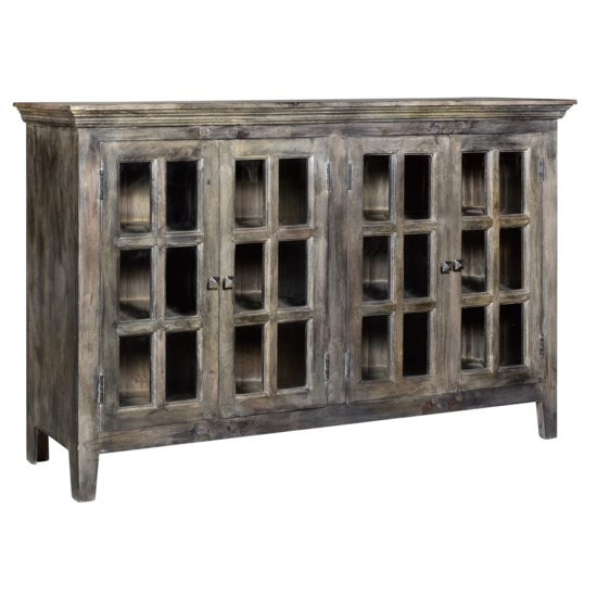 Good Crestview Bengal Manor Acacia Wood 4 Door Window Pane Cabinet CVFNR453