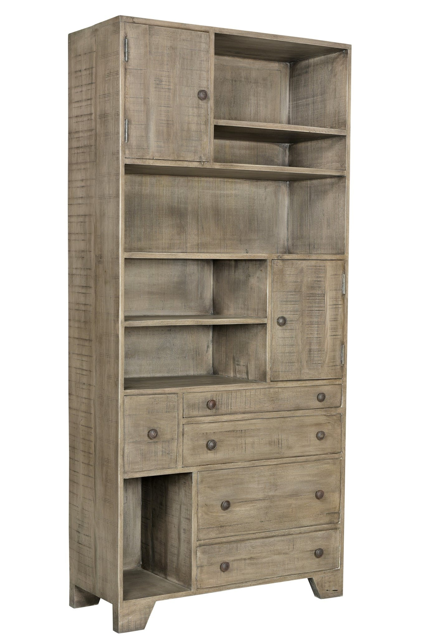 Crestview Home Office Bengal Manor Distressed Grey Bookcase