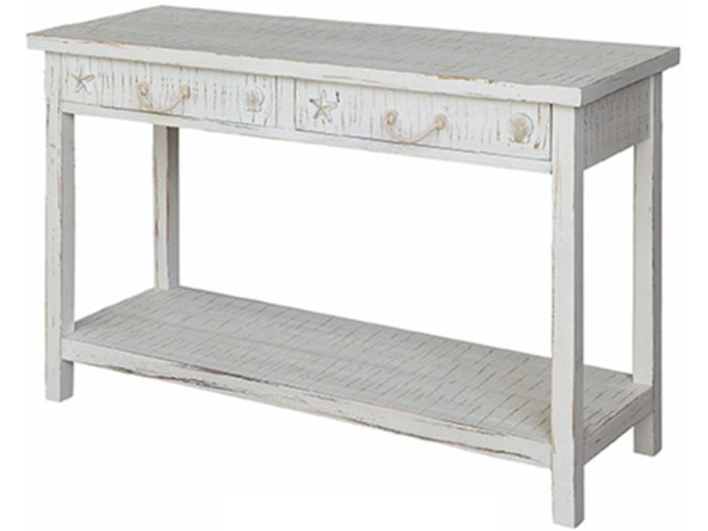 Crestview Living Room Seaside White Coastal Console Table