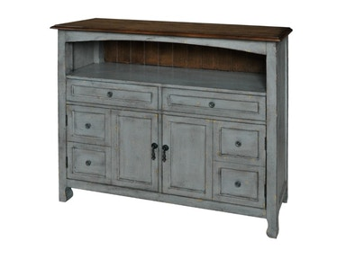 Bedford 2 Drawer/2 Door Sage Grey Cabinet With Wood Top