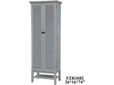 Crestview Living Room Magnolia Louvered 2 Door Tall White Storage