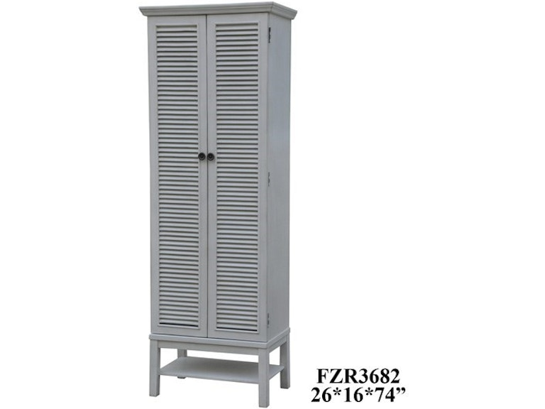 Crestview Living Room Magnolia Louvered 2 Door Tall White Storage Cabinet Cvfzr3682 At Smith Village Home Furniture