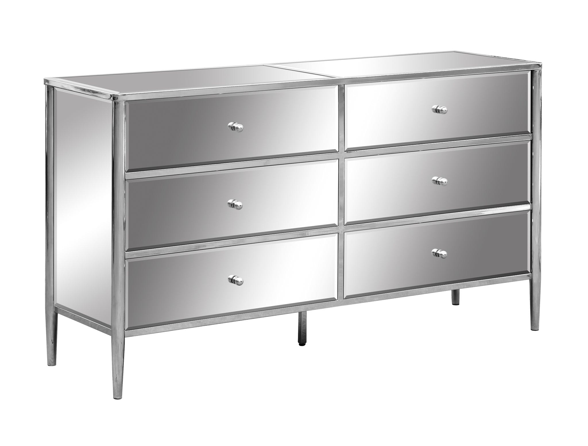 Crestview Bedroom Hollywood Nickel And Mirror 6 Drawer Chest Cvfzr3726 Weinberger S Furniture And
