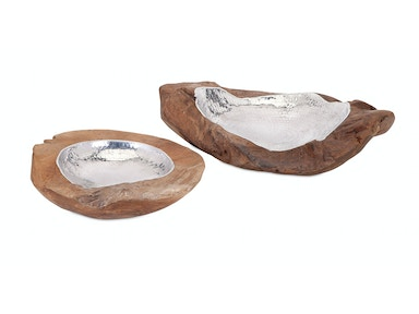 IMAX Corporation Abaco Teak and Aluminum Bowls - Set of 2 10224-2