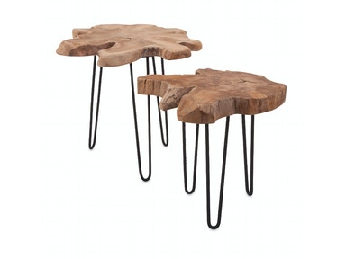 IMAX Corporation Baltra Teak Wood Nesting Tables - Set of 2 10236-2